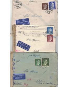 Lote 3 Cartas da Alemanha Nazi com Selos de Adolf Hitler (1943-1944)