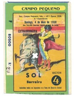Bilhete Tourada - Campo Pequeno, Lisboa - 4 de Maio de 1958