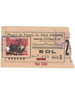 Bilhete Tourada - Vila Viçosa - 10 de Setembro de 1951