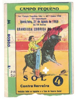Bilhete Tourada - Campo Pequeno, Lisboa - 21 de Agosto de 1958