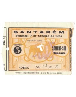 Bilhete Tourada - Santarém - 9 de Outubro de 1955