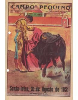 Folheto Tourada - Campo Pequeno - 31 de Agosto de 1951