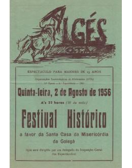 Folheto Tourada - Algés - 2 de Agosto de 1956