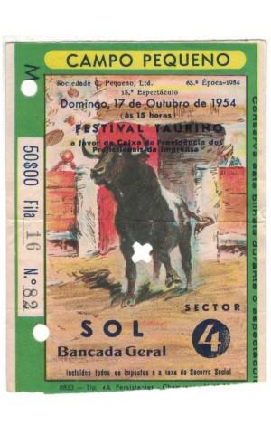 Bilhete Tourada - Campo Pequeno - 17 de Outubro de 1954