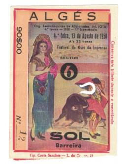 Bilhete Tourada - Algés - 13 de Agosto de 1958