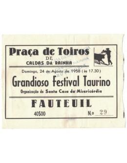 Bilhete Tourada - Caldas da Rainha - 24 de Agosto de 1958