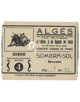 Bilhete Tourada - Algés - 8 de Agosto de 1958