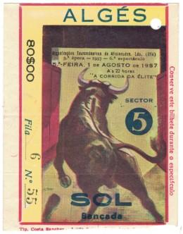 Bilhete Tourada - Algés - 1 de Agosto de 1957