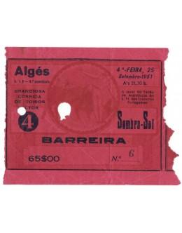 Bilhete Tourada - Algés - 25 de Setembro de 1957