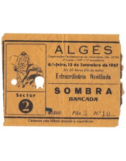 Bilhete Tourada - Algés - 13 de Setembro de 1957