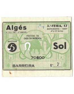 Bilhete Tourada - Algés - 17 de Setembro de 1957