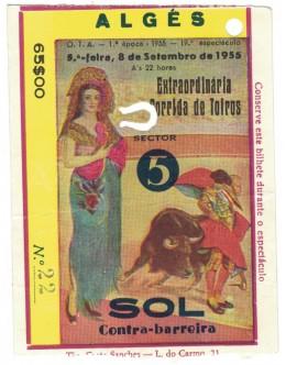 Bilhete Tourada - Algés - 8 de Setembro de 1955