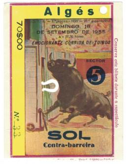 Bilhete Tourada - Algés - 18 de Setembro de 1955