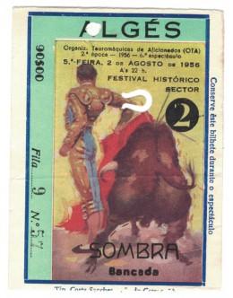 Bilhete Tourada - Algés - 2 de Agosto de 1956