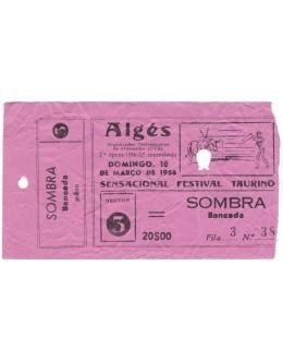 Bilhete Tourada - Algés - 18 de Março de 1956